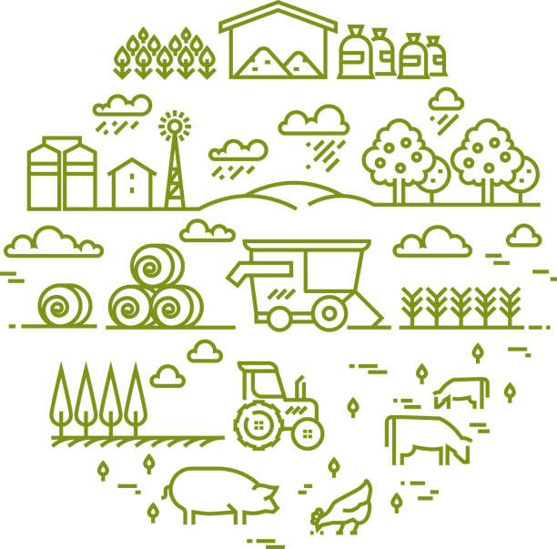 Rural landscape and agriculture farming thin line icons vector art illustration