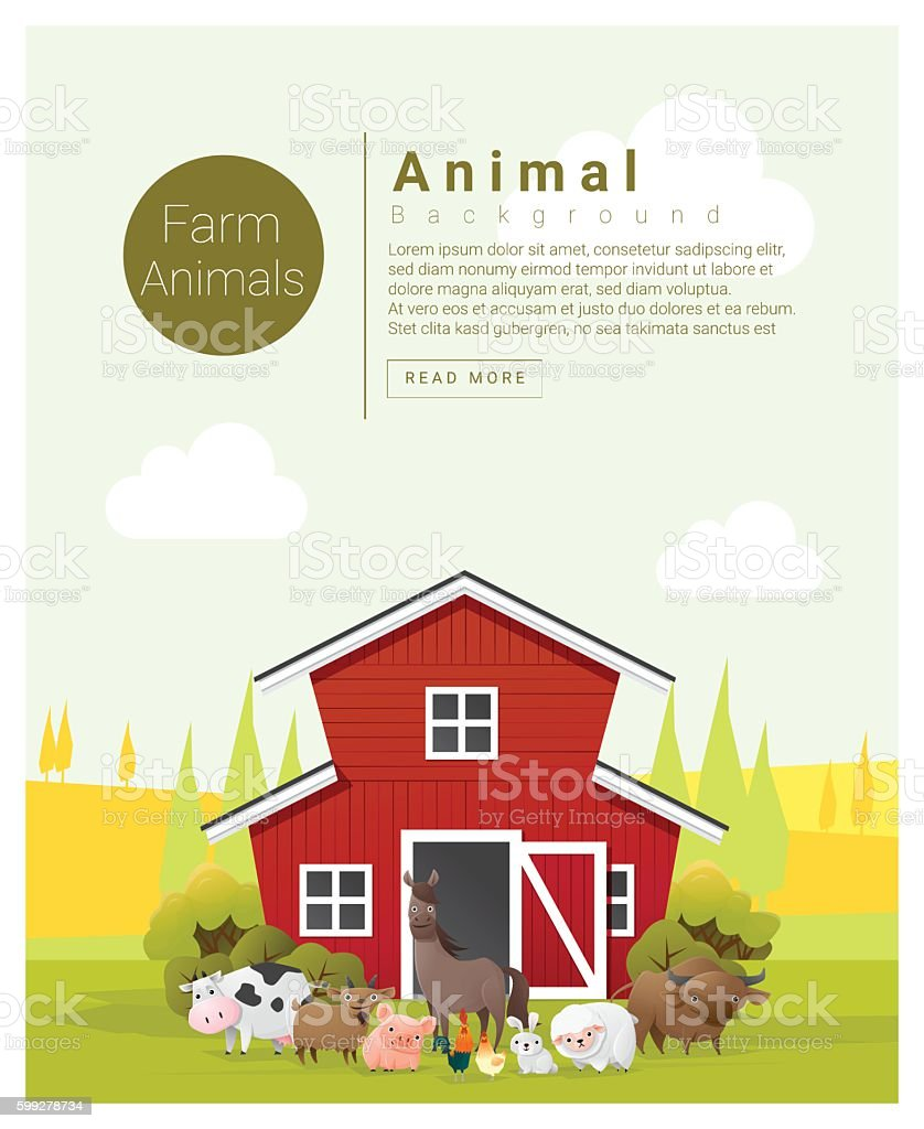 Rural landscape and farm animal background 2 vector art illustration