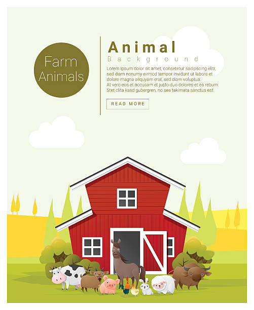 rural landscape and farm animal background 2 - farm animals stock illustrations, clip art, cartoons, & icons