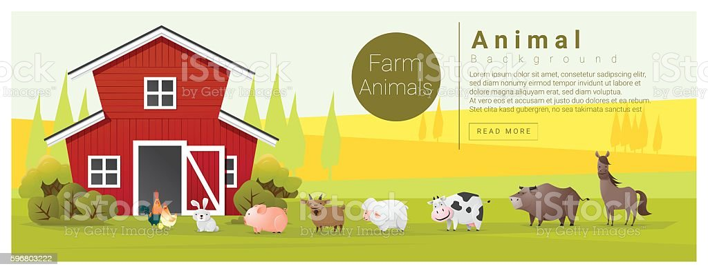 Rural landscape and farm animal background vector art illustration