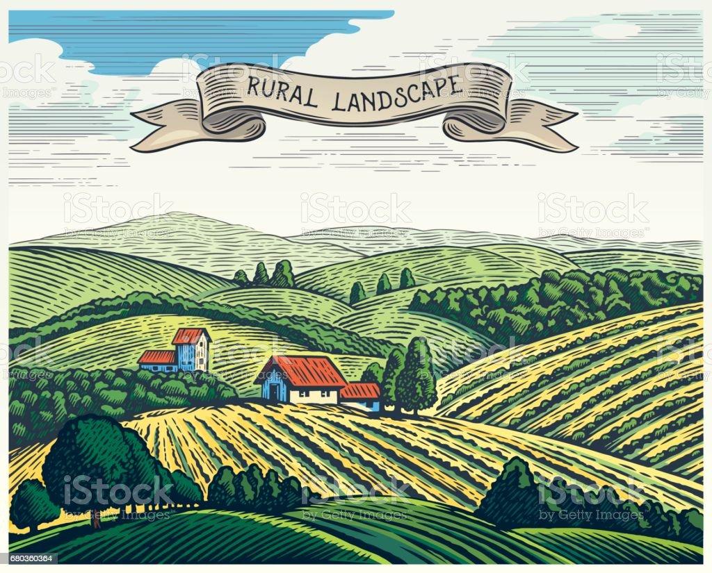 Rural landscape and ribbon. vector art illustration