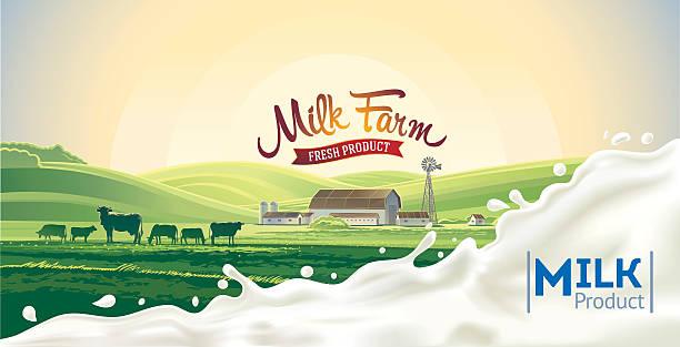 田園風景とスプラッシュミルクます。 - 乳製品点のイラスト素材/クリップアート素材/マンガ素材/アイコン素材
