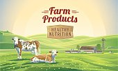 """Rural landscape with two cows and farm in background and lettering """"Farm product"""". Vector illustration."""