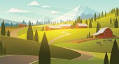 Rural landscape illustration in vector