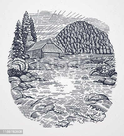 Rural landscape in graphic style with a mountain river and a hut.