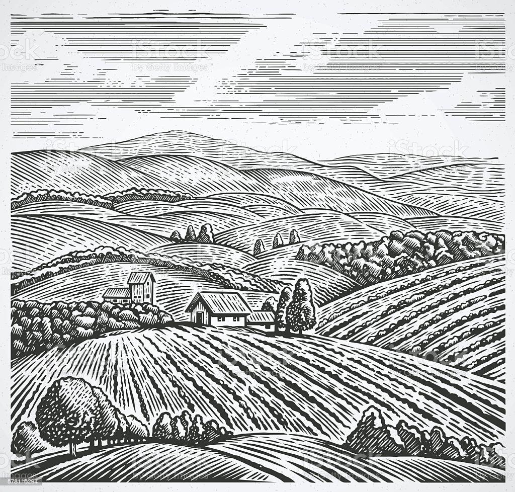 Rural landscape in graphic style. vector art illustration