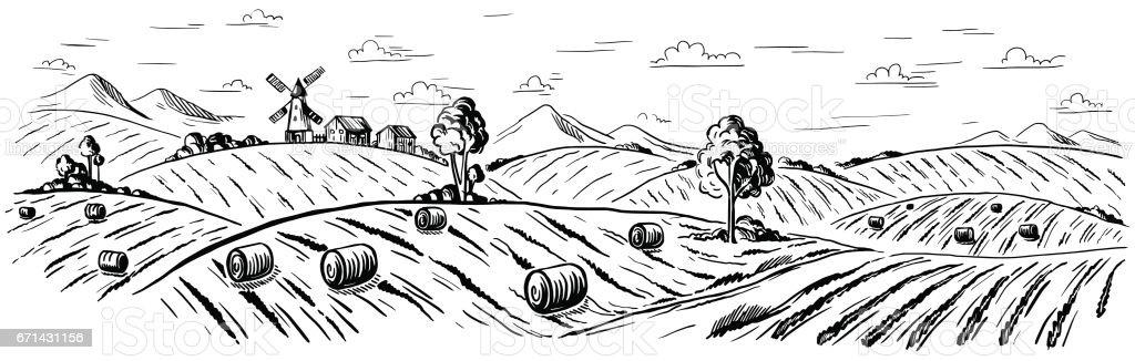 Rural landscape in graphical style vector art illustration