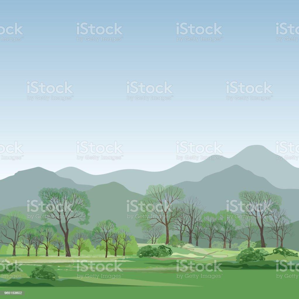 Rural landscape, mountains. Countryside view with forest, field, hills rural landscape mountains countryside view with forest field hills - stockowe grafiki wektorowe i więcej obrazów abstrakcja royalty-free