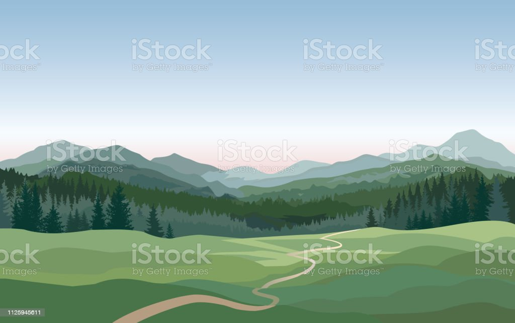Paisagem rural. Montanhas, colinas, fundo de natureza de campos - Vetor de Abstrato royalty-free