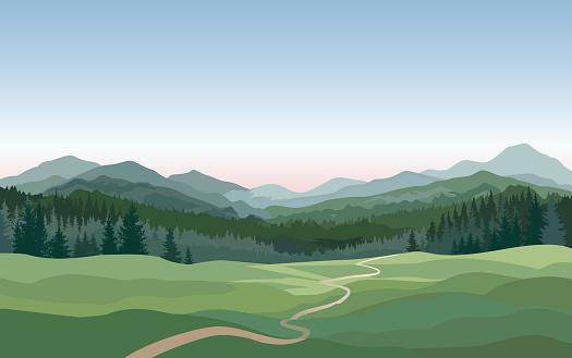 Rural landscape. Mountains, hills, fields nature background