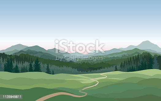 Rural landscape with mountains, hills, fields. Countryside nature skyline background