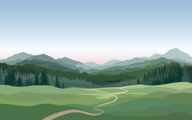 bildbanksillustrationer, clip art samt tecknat material och ikoner med landsbygdens landskap. berg, kullar, fält natur bakgrund - forest