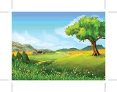 Rural landscape, nature, summer, vector background