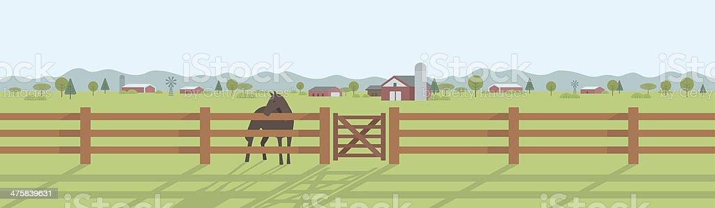 Rural landscape panorama vector art illustration