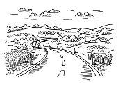 Rural Landscape Road Drawing