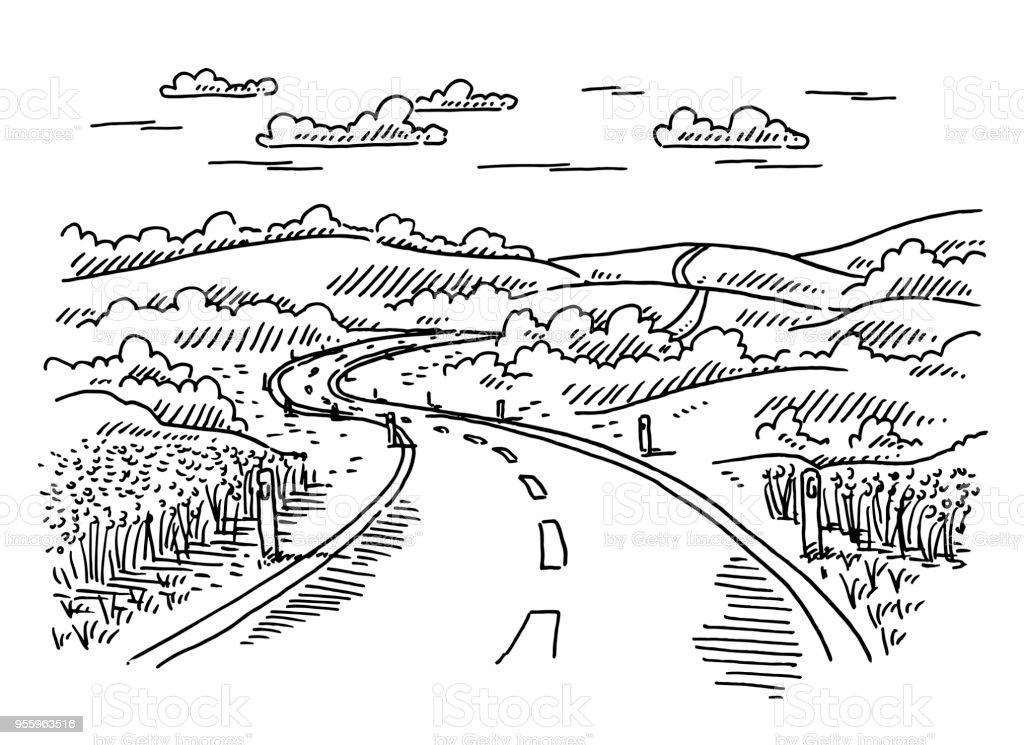 Rural Landscape Road Drawing vector art illustration