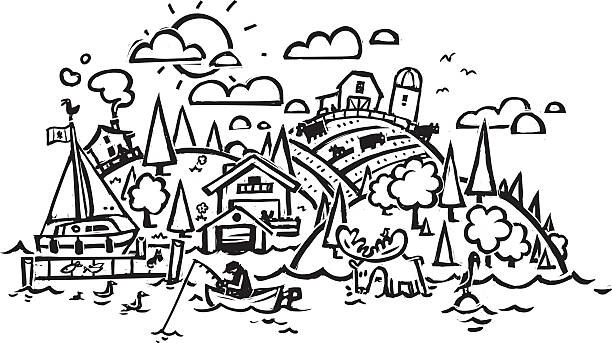 Royalty Free Black And White Landscape Clip Art, Vector ...