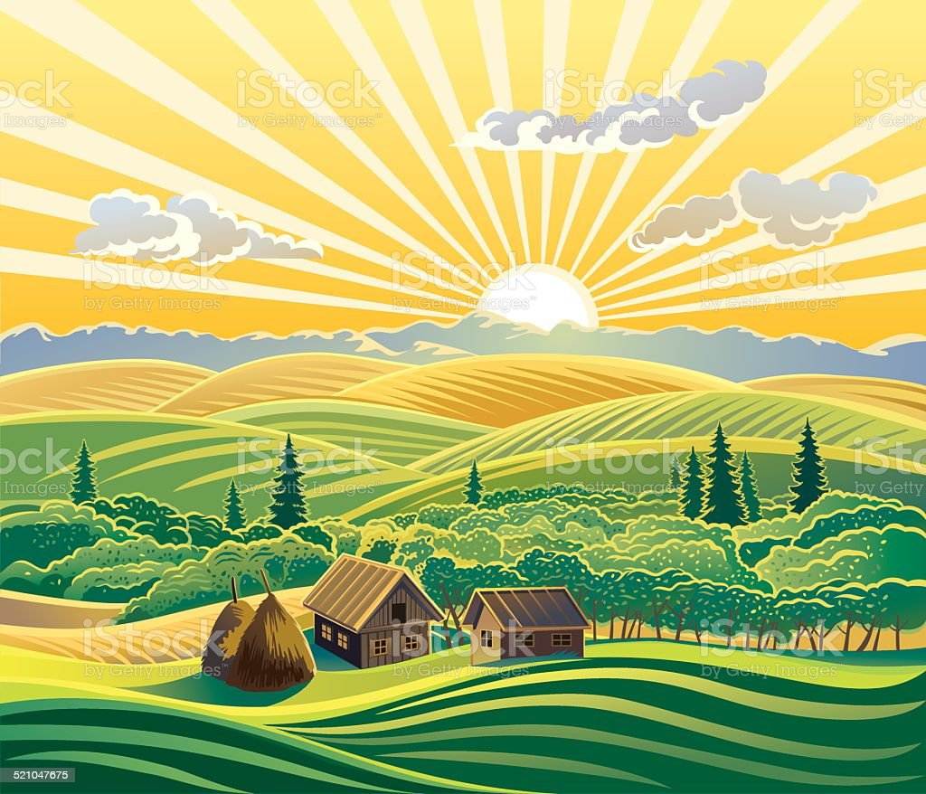 Rural landscape vector art illustration