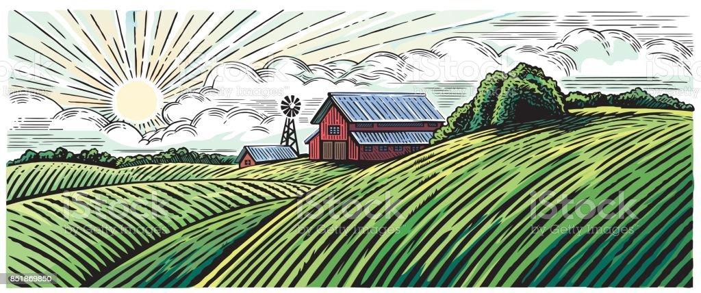 Ländliche Landschaft – Vektorgrafik