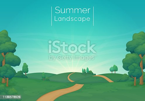 Rural landscape vector illustration. Green meadows with pine trees, bushes and a dirt road. Blue sky with clouds and sunbeams in the background. Summer day.
