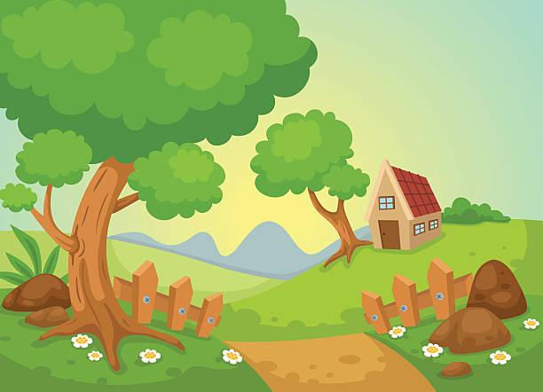 rural landscape vector vector art illustration