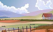 Rural meadow landscape background.
