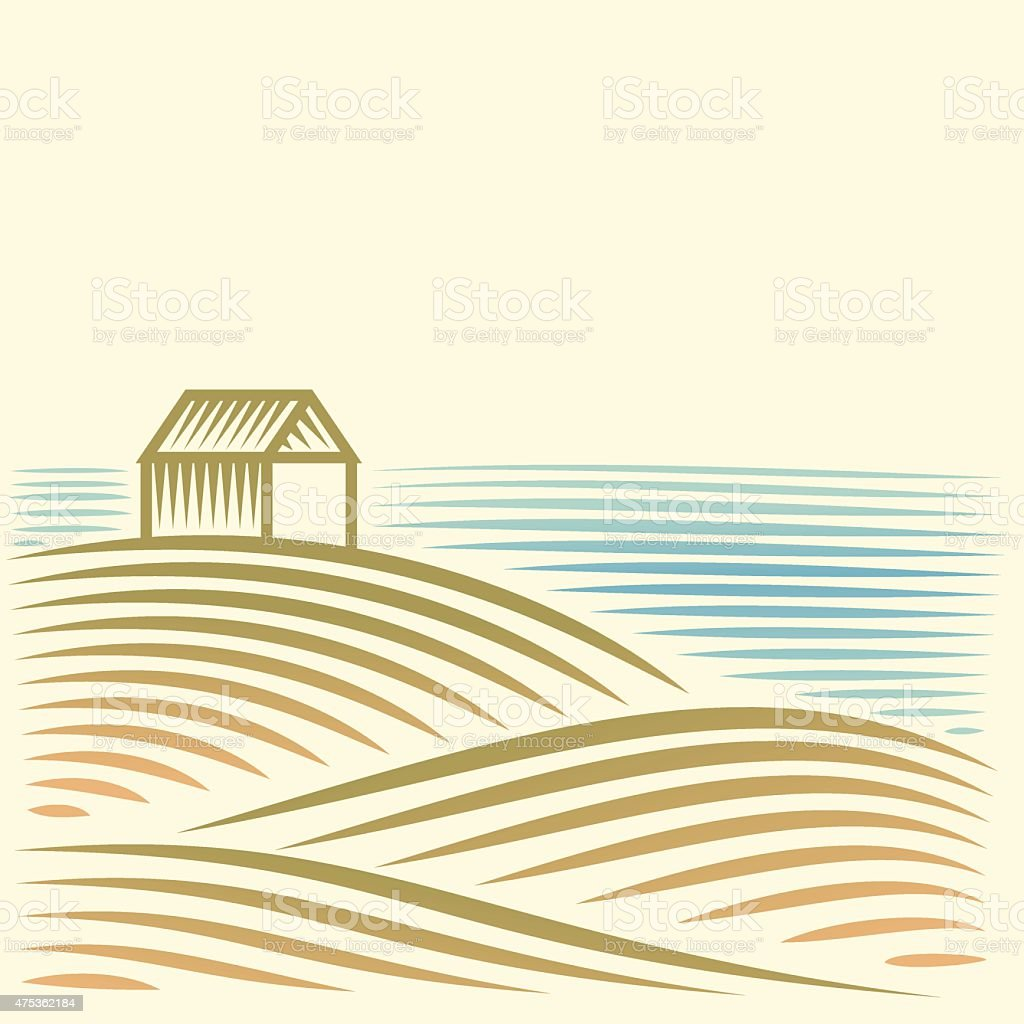 Rural landscape with a house by the sea vector art illustration