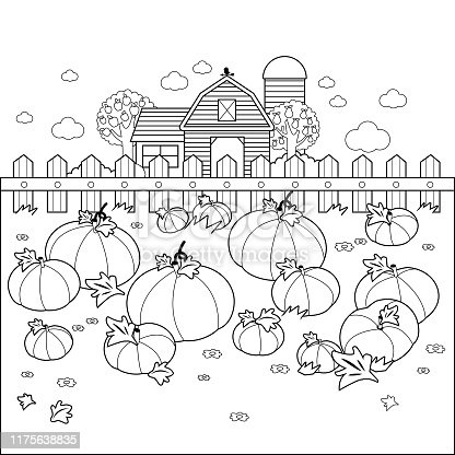 istock Rural landscape with a pumpkin field and a farmhouse. Vector black and white coloring page 1175638835