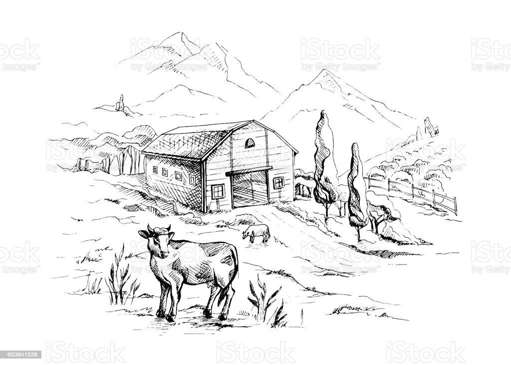 Ilustración de Paisaje Rural Con Vacas Y Paisaje De Montaña De La ...
