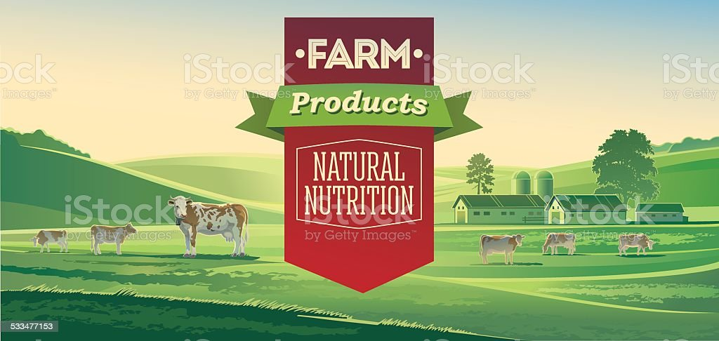 Rural landscape with cows and lettering design elements. vector art illustration