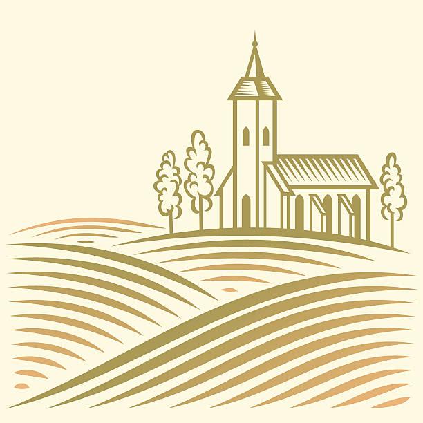 Ländliche Landschaft mit Feldern und christlichen-Tempel – Vektorgrafik