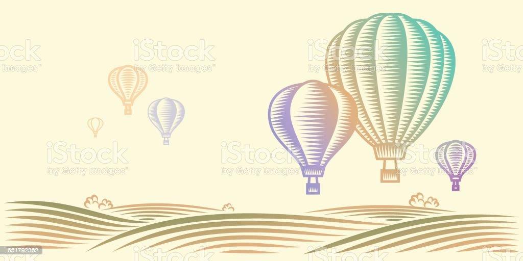 Landschaft mit Feldern und Heißluftballons in den Himmel – Vektorgrafik