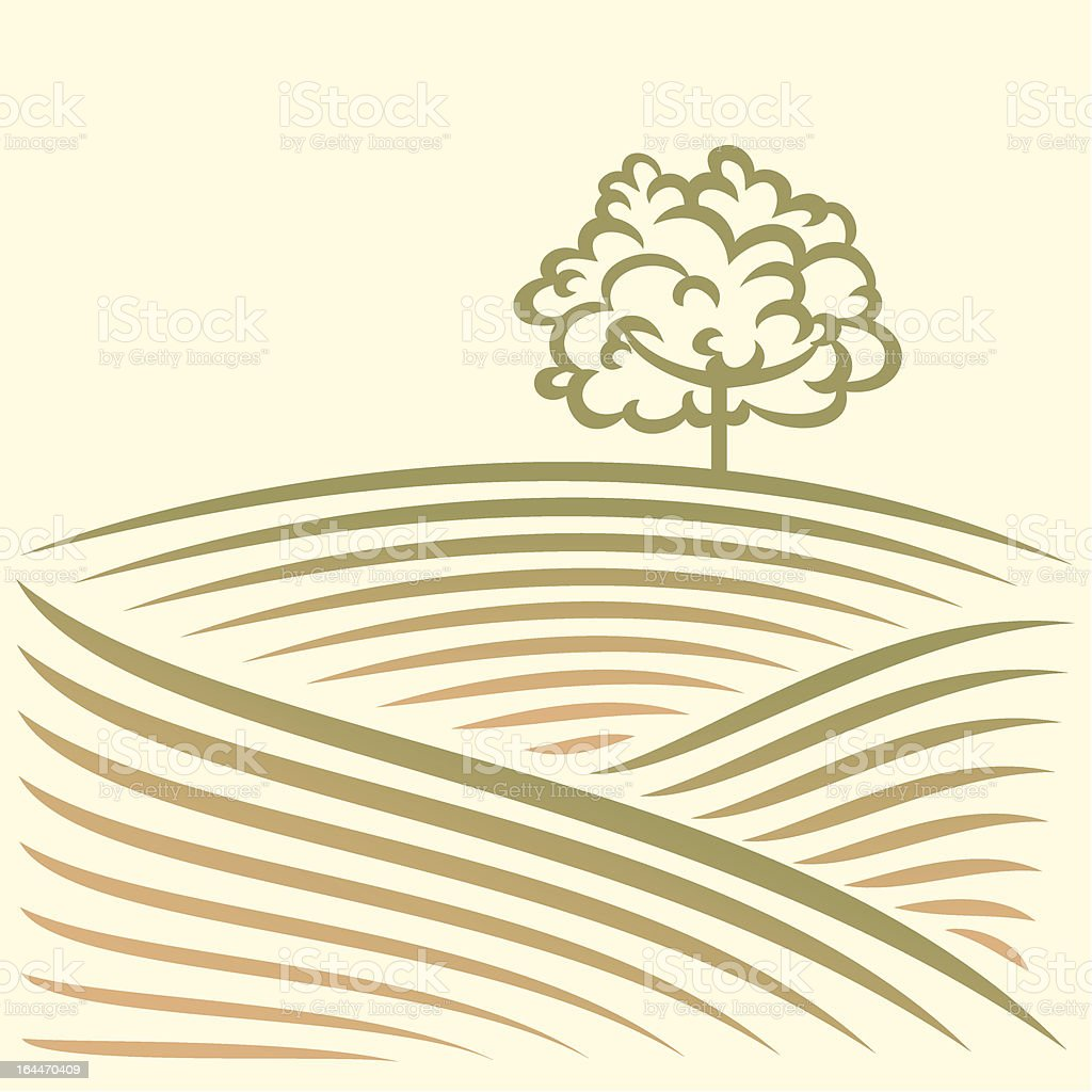 Rural landscape with fields and tree royalty-free stock vector art
