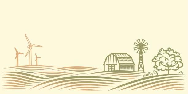 Rural landscape with fields, barn, trees and wind turbine. – Vektorgrafik