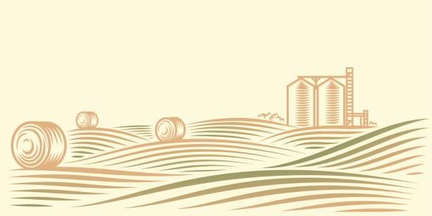 Ländlichen Landschaft mit Feldern, Heuhaufen und Getreidesilo – Vektorgrafik