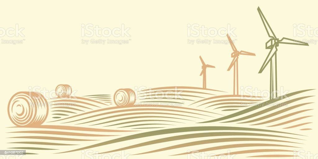 Rural landscape with fields, haystacks and wind turbines vector art illustration