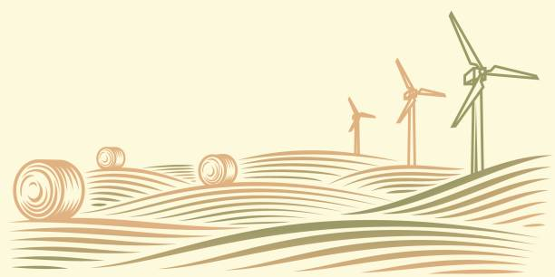 Rural landscape with fields, haystacks and wind turbines – Vektorgrafik