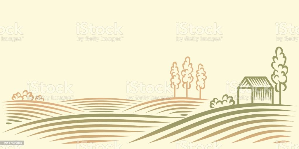 Rural landscape with fields, house and trees vector art illustration