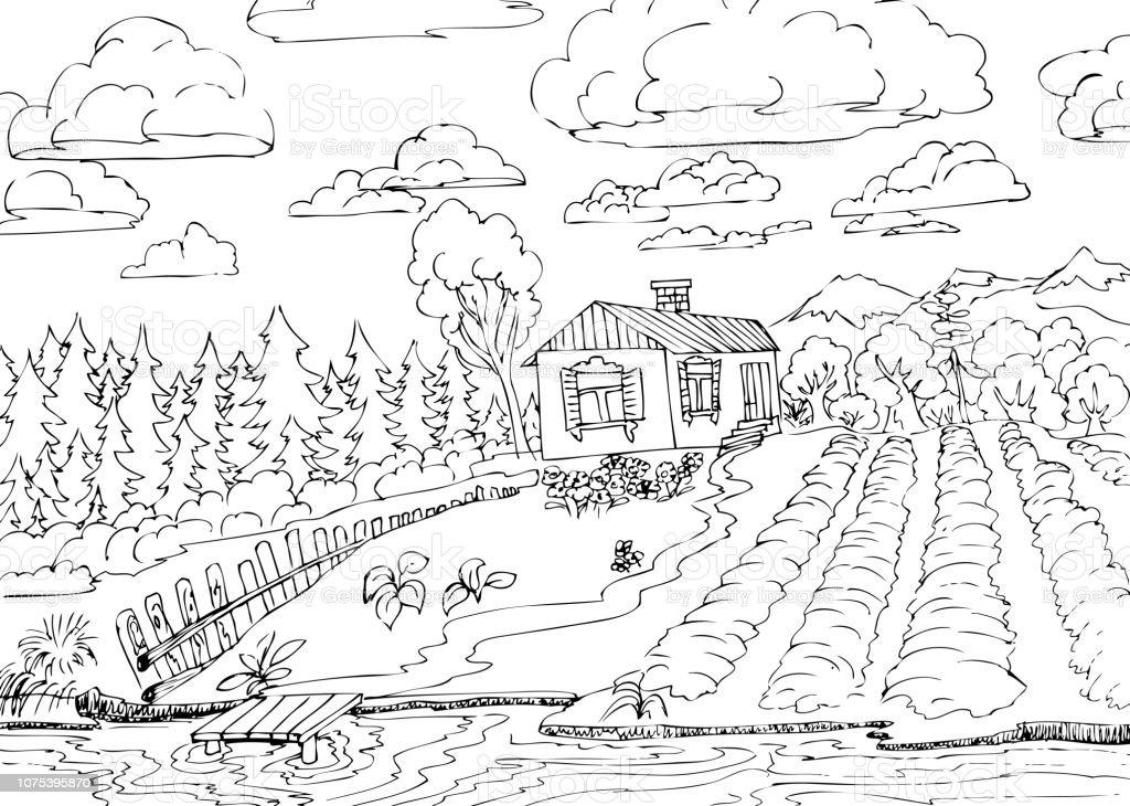 Vetores De Paisagem Rural Com Floresta E Pequena Casa E Mais