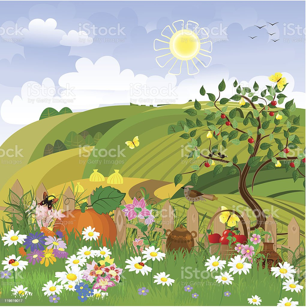 Rural landscape with fruit trees royalty-free rural landscape with fruit trees stock vector art & more images of beauty
