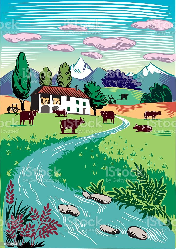 rural landscape with grazing cows royalty-free stock vector art