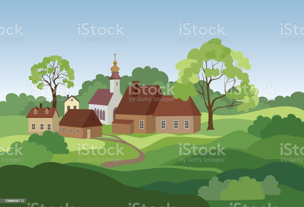 Rural landscape with hills, fields, trees and countryhouse. Countryside skyline. Rural landscape with hills, fields, trees and countryhouse. Countryside skyline. Agricultural Field stock vector