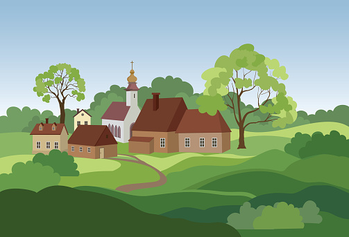 Rural Landscape With Hills Fields Trees And Countryhouse Countryside Skyline Stock Illustration - Download Image Now