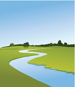 Rural landscape with river
