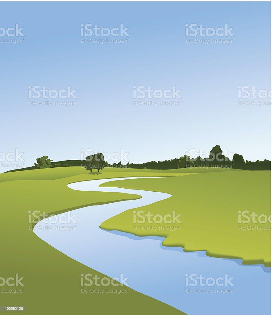 Rural landscape with river vector art illustration