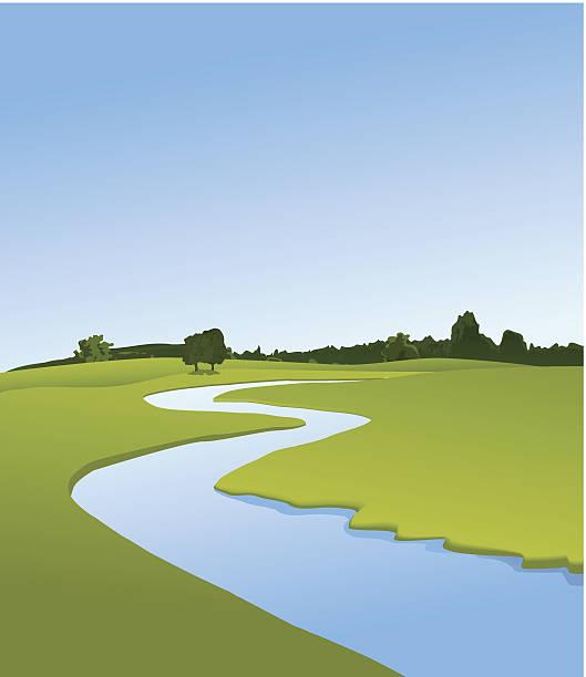 ilustrações de stock, clip art, desenhos animados e ícones de paisagem rural com rio - river