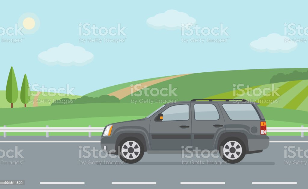 Rural landscape with road and moving off road vehicle. vector art illustration