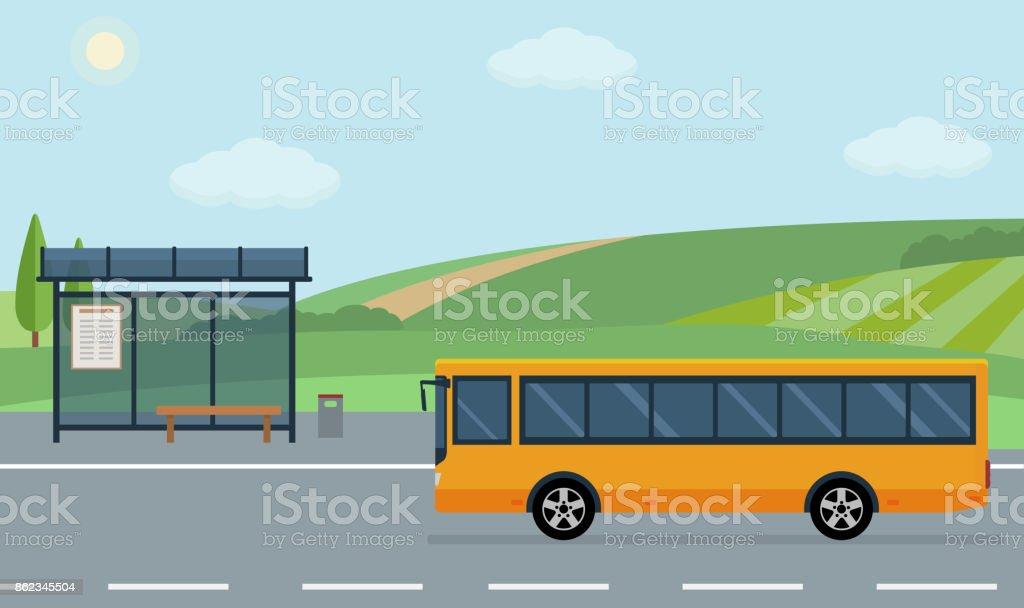 Paysage rural avec la route, arrêt de bus et bus mobile. - Illustration vectorielle