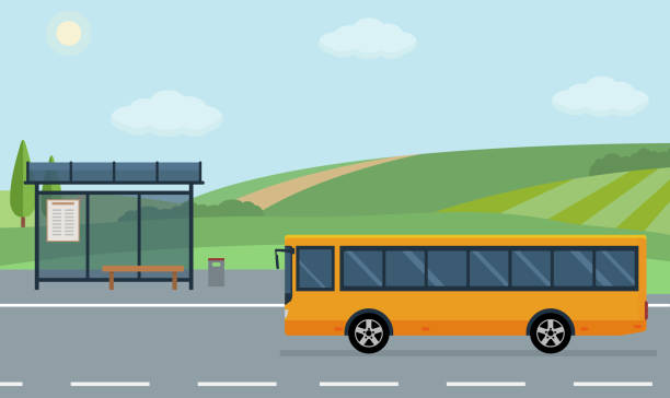 stockillustraties, clipart, cartoons en iconen met landschap met weg, bushalte en bewegende bus. - bushalte