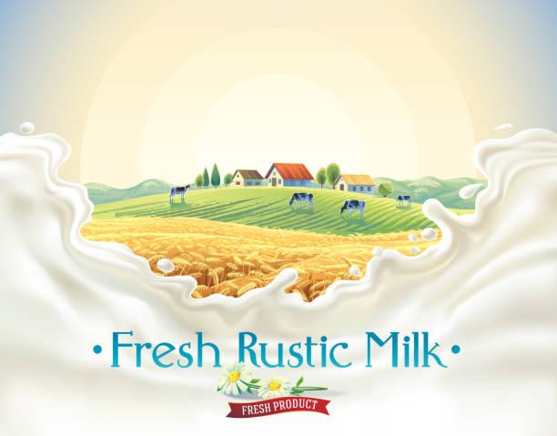 Rural landscape with splash milk vector art illustration